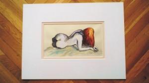 """""""akt 1"""" akryl na papierze oprawiony w podwójne passe-partout, wymiary: 30x40cm, cena: 100zł"""