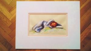 """""""akt 2"""" akryl na papierze oprawiony w podwójne passe-partout, wymiary: 30x40cm, cena: 100zł"""