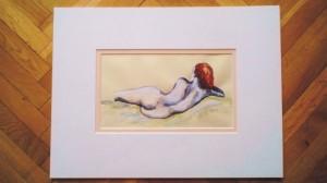 """""""akt 3"""" akryl na papierze oprawiony w podwójne passe-partout, wymiary: 30x40cm, cena: 100zł"""