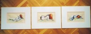 """""""3 akty"""" akryl na papierze oprawiony w podwójne passe-partout, wymiary: 30x40cm, cena: 300zł"""