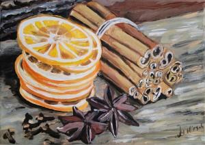"""""""Pomarańcza z cynamonem"""", akryl na podobraziu malarskim, wymiary: 21x30cm, cena: 180 zł"""