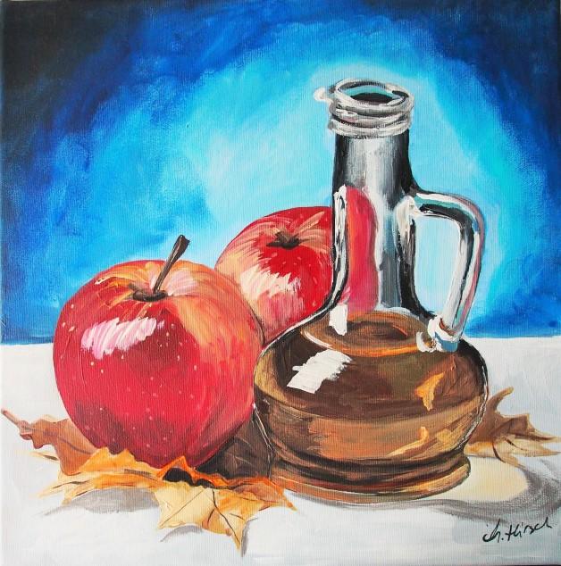 Martwa natura z jabłkami, akryl na płótnie, wymiary:40x40cm, cena: 200 zł